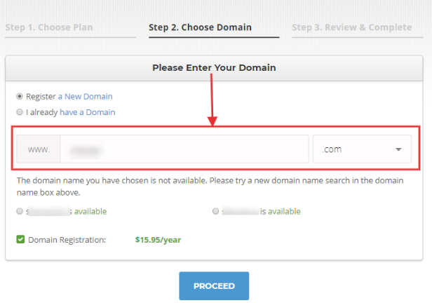 Siteground Choose OR Enter Domain Name